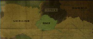 Карта Украины в 2036 году, по мнению создателей фильма: с севера атакуют красные. В центре - демилитаризованная зона.